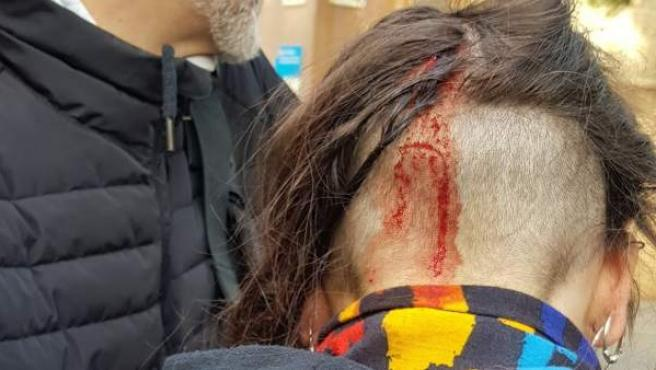 Un manifestante, herido en Drassanes.