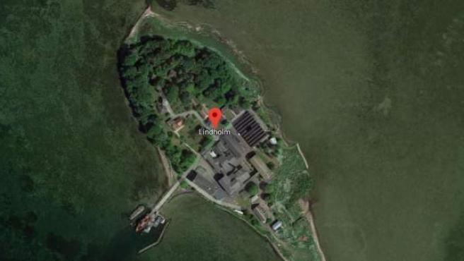Imagen vía satélite de la isla de Lindholm, en Dinamarca.