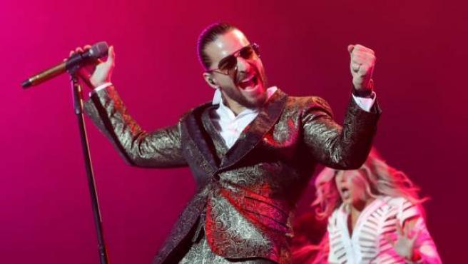 El cantante colombiano Maluma, durante el concierto que ofreció en el Palacio de los Deportes de Madrid, incluido en su gira mundial Fame.