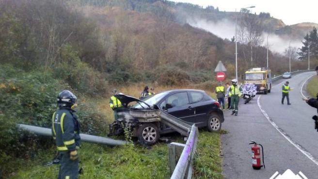 Accidente de tráfico en una carretera de Asturias.
