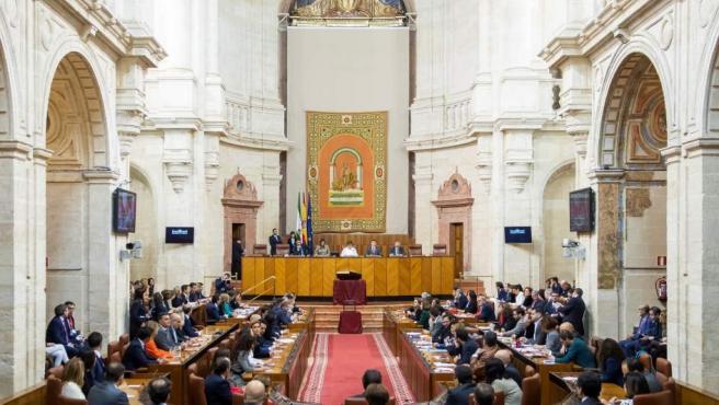 Imagen del nuevo Parlamento andaluz antes de la constitución de la Mesa y la jura o promesa de los nuevos diputados.
