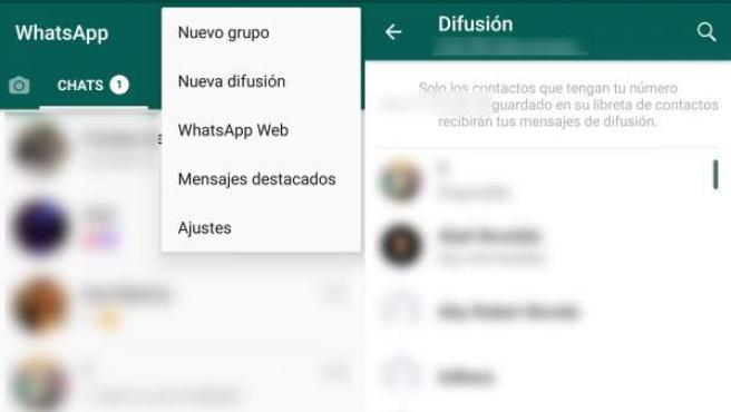 Nueva lista de difusión en Whatsapp.