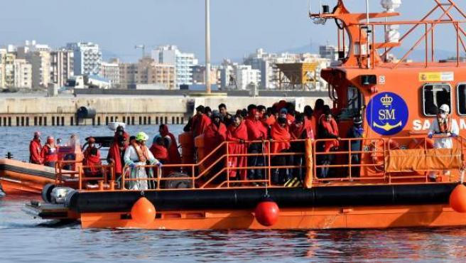 Migrantes rescatados la semana pasada en el Mar de Alborán.