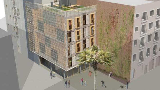 Una recreación de los pisos sociales prefabricados que el gobierno municipal prevé construir en el Gòtic.