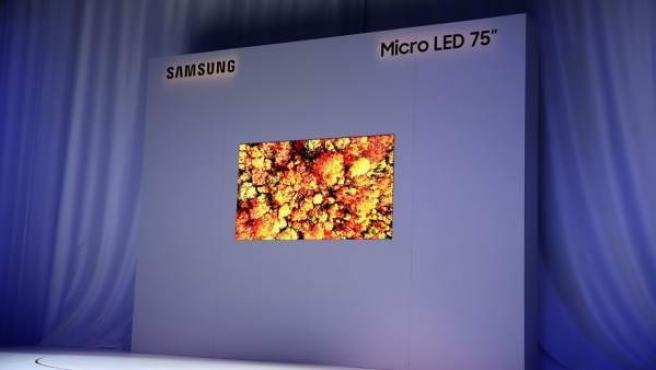 Samsung presenta en el CES 2019 un televisor que lleva tecnología MicroLED de altísima resolución 4K y de 75 pulgadas.