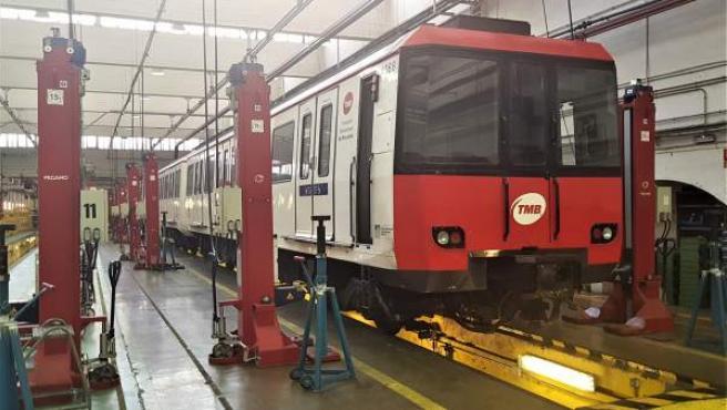 Un taller del Metro de Barcelona, en la Sagrera.