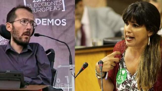 El Secretario de Organización de Podemos, Pablo Echenique, y la Portavoz de Adelante Andalucía, Teresa Rodríguez
