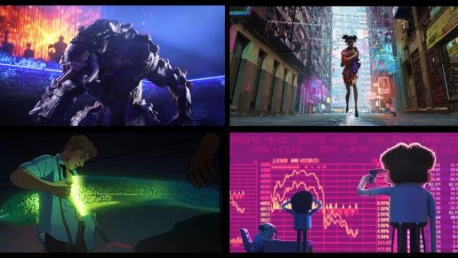 Imágenes de algunos de los capítulos de 'Love, Death and Robots', la nueva serie de animación de Netflix.