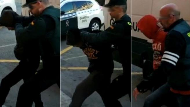 Tres de los cuatro detenidos por la violar grupalmente a una chica de 19 años en Alicante la pasada Nochevieja.