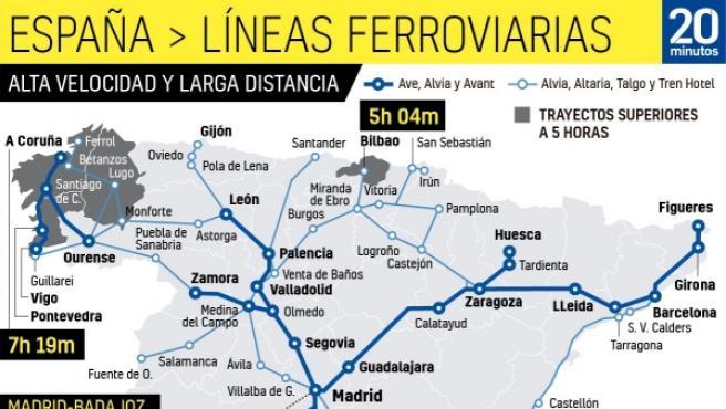 Mapa Ferroviario De España.Mapa De Las Lineas Ferroviarias De Alta Velocidad Y Larga