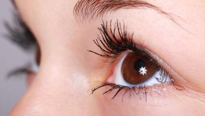 Imagen de un ojo de color castaño.