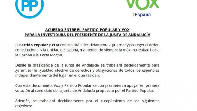 El acuerdo entre Vox y el PP para la investidura de Juanma Moreno.