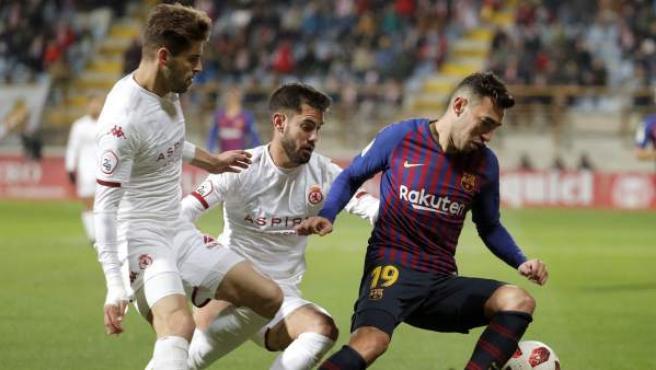 Munir, durante el partido entre la Cultural Leonesa y el Barcelona de Copa del Rey.
