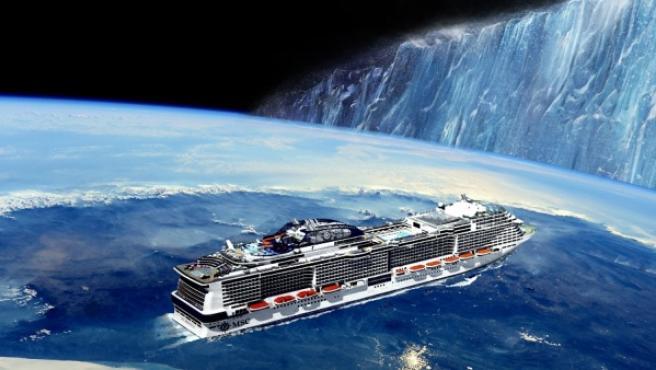 Montaje sobre el crucero que intentará demostrar que la Tierra es plana.