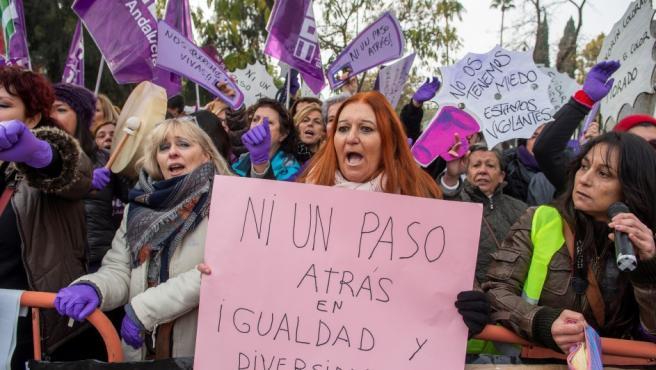 """Mujeres con pancartas gritan """"ni un paso atrás en igualdad y diversidad"""" frente al Parlamento Andaluz."""