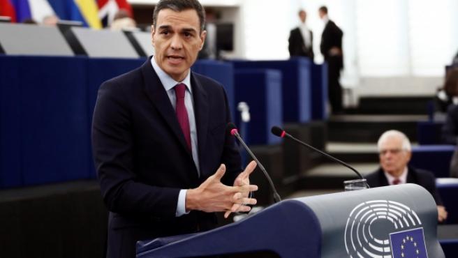 Pedro Sánchez, durante su intervención en el pleno del Parlamento de Estrasburgo.