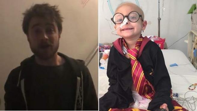 El actor Daniel Radcliffe, en el vídeo que le dedicó a la niña mexicana enferma de leucemia Gisel García, 'Gigi', y la propia niña, vestida como Harry Potter.