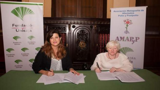 Ana cabrera fundación unicaja firma acuedo con asociación afectados polio gracia