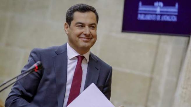 El líder del PP-A, Juanma Moreno, en una de sus intervenciones.