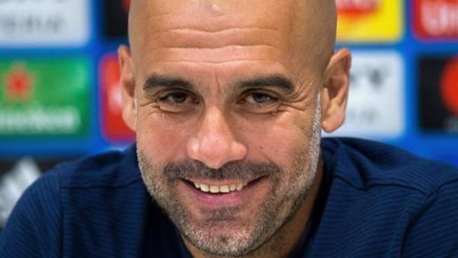 Pep Guardiola, entrenador del Manchester City, en una conferencia de prensa.