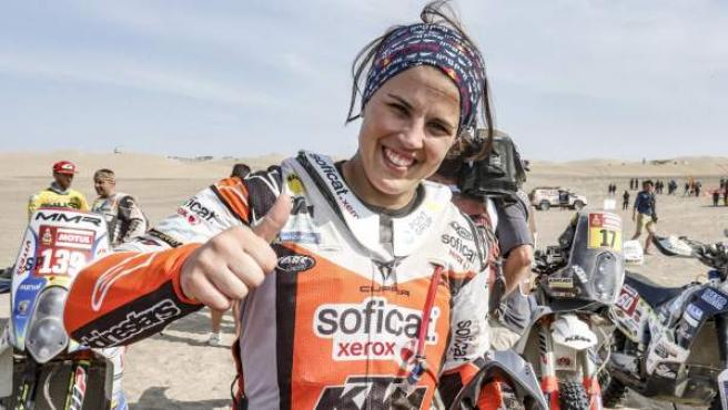 Laia Sanz, feliz por su actuación en el Dakar 2019.