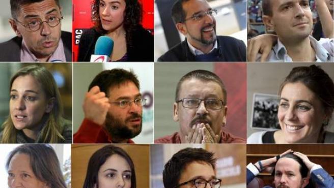 De izquierda a derecha y arriba a abajo: Monedero, Ubasart, Pascual, Alegre, Sánchez, Dante Fachín, Domènech, Ruiz-Huerta, Bescansa, Maestre, Errejón y Pablo Iglesias.