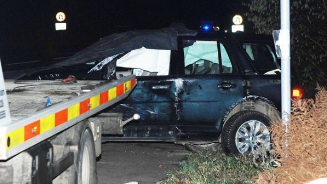 Imagen del todoterreno del duque de Edimburgo tras el accidente.
