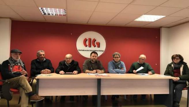 Rueda de prensa de colectivos de pensionistas y jubilados en la CIG