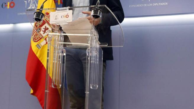 El diputado Iñigo Errejón, durante la rueda.