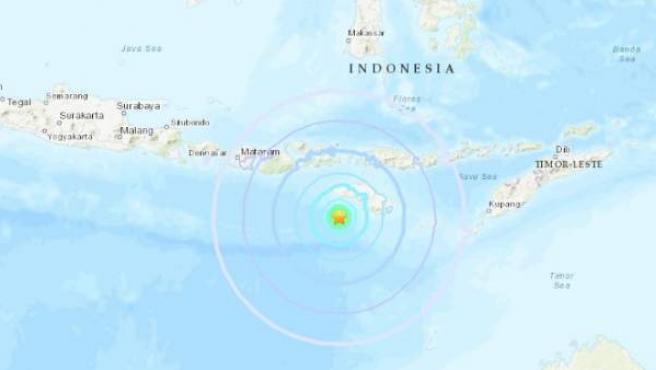 Epicentro del seísmo registrado al suroeste de la isla de Sumba, en Indonsia.