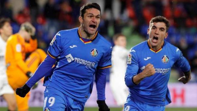 Jorge Molina celebra su gol en el partido de ida de cuartos de final de Copa del Rey contra el Valencia