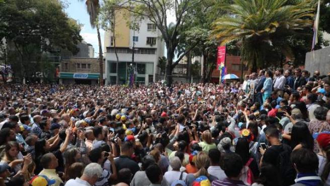 Mitin de Juan Guaidó en Caracas.