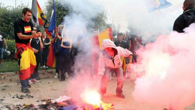 Una imagen de archivo de una manifestación de la ultraderecha en Barcelona.