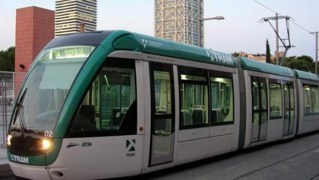 El tranvía de Barcelona.