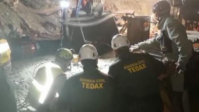 Imagen de la cuarta microvoladura en el túnel horizontal del rescate de Julen.