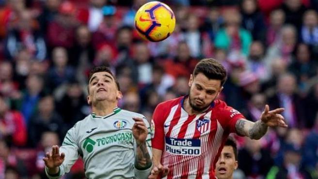 Un lance del partido entre el Atlético de Madrid y el Getafe.