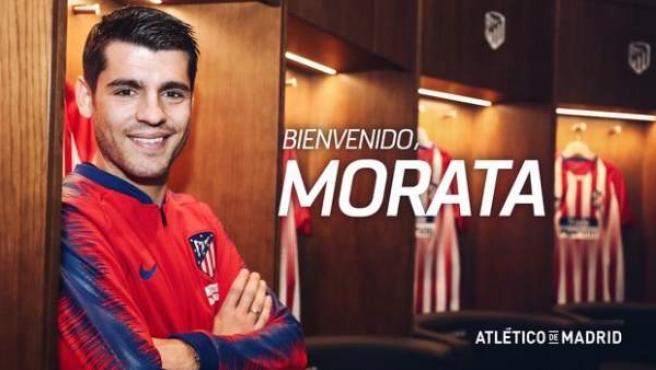 Con esta imagen anunció el Atlético de Madrid el fichaje de Álvaro Morata.