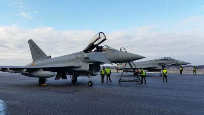 Dos cazas Eurofighter españoles, en la misión de la OTAN en el Báltico.