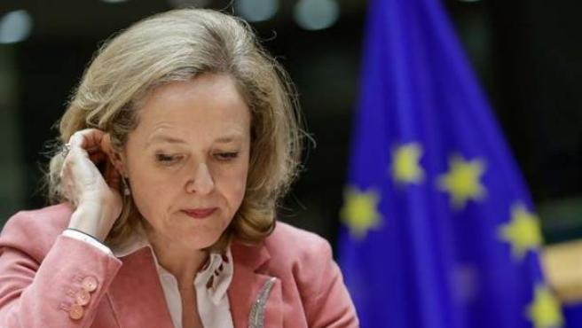 La ministra de Economía, Nadia Calviño, durante una reunión del Comité de Asuntos Económicos y Monetarios, en el Parlamento Europeo, en Bruselas.