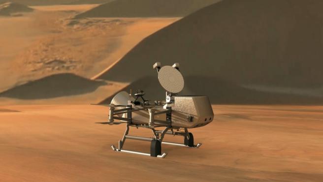 Recreación artística de 'Dragonfly', el 'helicóptero' desarrollado para aterrizar en la luna Titán.