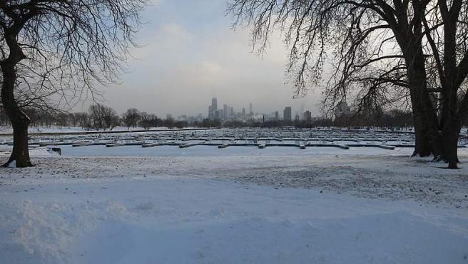 Chicago durante la ola de frío provocada por el vórtice polar en 2014.