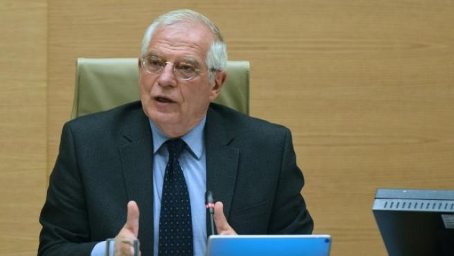 El ministro de Exteriores, Josep Borrell, comparece en la comisión mixta de asuntos de la UE.