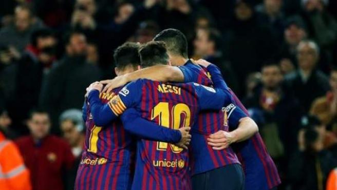 El FC Barcelona celebra un gol.