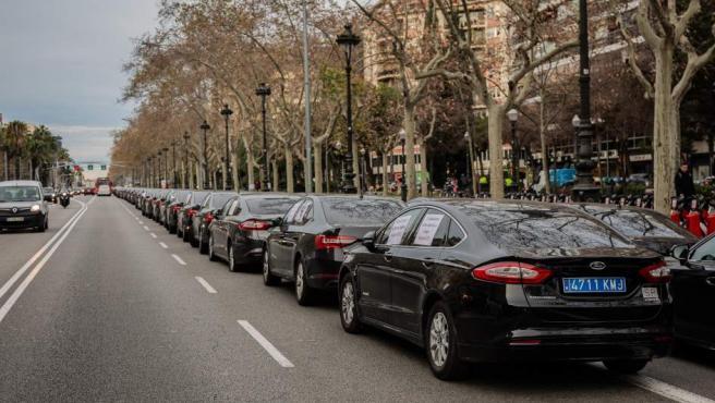 Conductores de VTC concentrados en la avenida Diagonal de Barcelona.