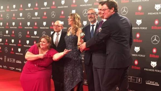 El equipo de 'Campeones', con el Premio Feroz a mejor comedia.