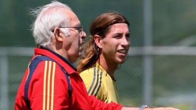 Sergio Ramos y Luis Aragonés.