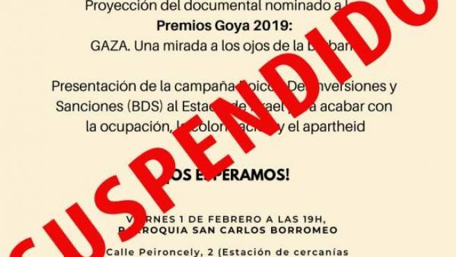 Cartel anunciando la suspensión de la proyección del documental 'Gaza: una mirada a los ojos de la barbarie'
