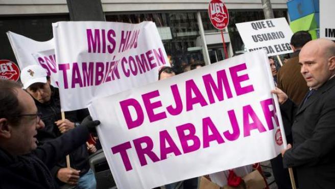 Conductores de VTC protestan en Madrid.