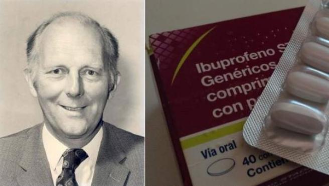Stewart Adams, creador del ibuprofeno, junto a una caja del analgésico.