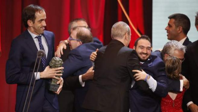 Así celebró el equipo de 'Campeones' el Goya a mejor película.